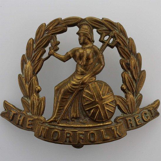 Norfolk Regiment WW1 Norfolk Regiment ALL BRASS 1916 Economy Issue Cap Badge