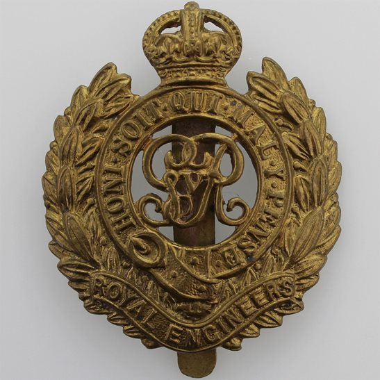 Royal Engineers WW1 Royal Engineers Corps (George V) Cap Badge - SMITH & WRIGHT LD B'HAM