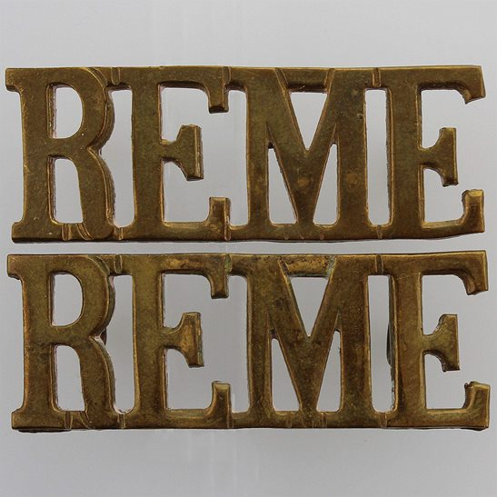 Royal Electrical & Mechanical Engineers REME WW2 Royal Electrical & Mechanical Engineers REME Shoulder Title PAIR