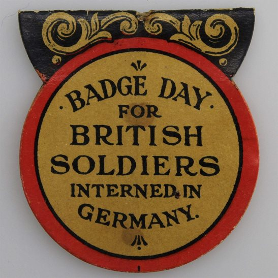WW1 British POWs Soldiers Interned In Germany Comforts Flag Day Fundraising Pin Badge