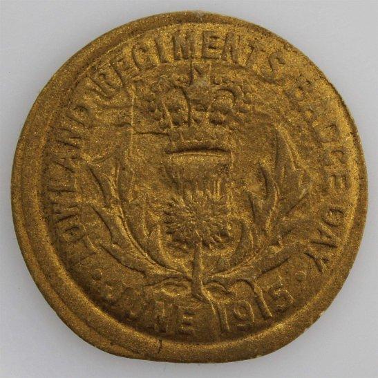 Royal Scots WW1 Lowland Regiment June 1915 Scottish Flag Day Fundraising Pin Badge