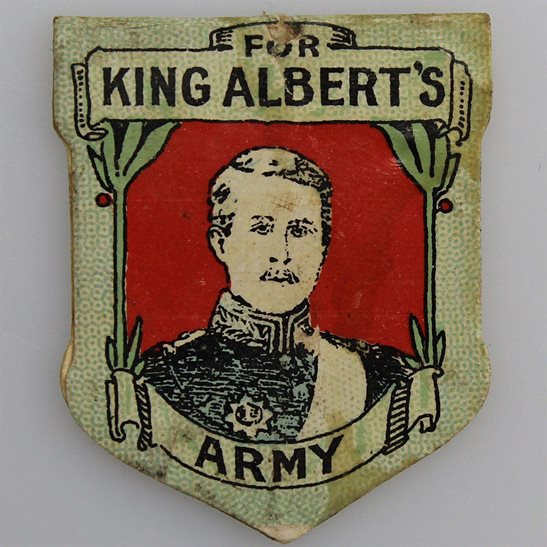 WW1 King Alberts Army Belgian Soldiers Fund Belgium Flag Day Fundraising Pin Badge