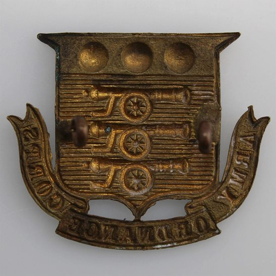 additional image for Army Ordnance Corps AOC Cap Badge - EARLY LUGS VERSION