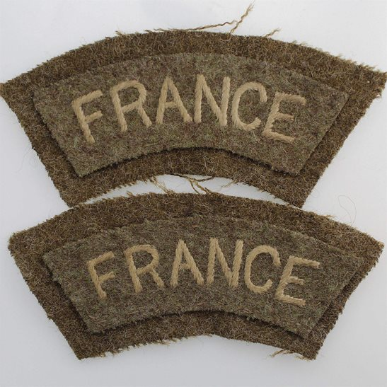 WW2 French Army WW2 Free French Army In Exile FRANCE Cloth Shoulder Title Flash PAIR