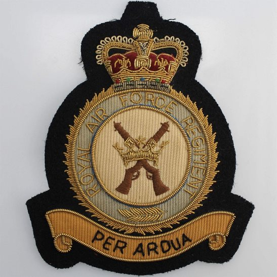 RAF Squadrons Royal Air Force RAF Regiment Cloth Wire BULLION Veterans Blazer Badge
