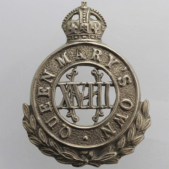 18th Hussars WW1 18th Queen Marys Own Royal Hussars Regiment Collar Badge