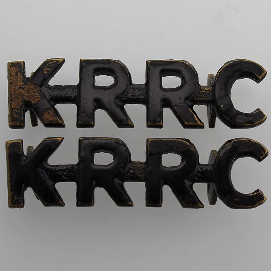 Kings Royal Rifle Corps KRRC Kings Royal Rifle Corps KRRC (King's) Regiment Shoulder Title PAIR