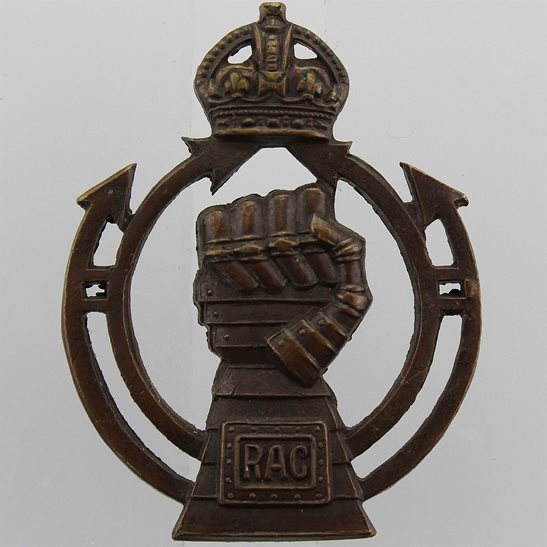 Royal Armoured Corps WW2 Royal Armoured Corps BRONZE Officers Collar Badge