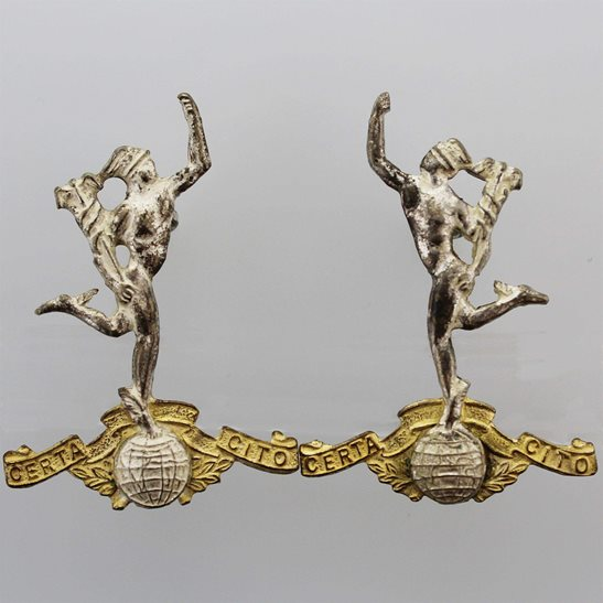 Royal Corps of Signals RCOS WW2 Royal Corps of Signals RCOS Collar Badge PAIR