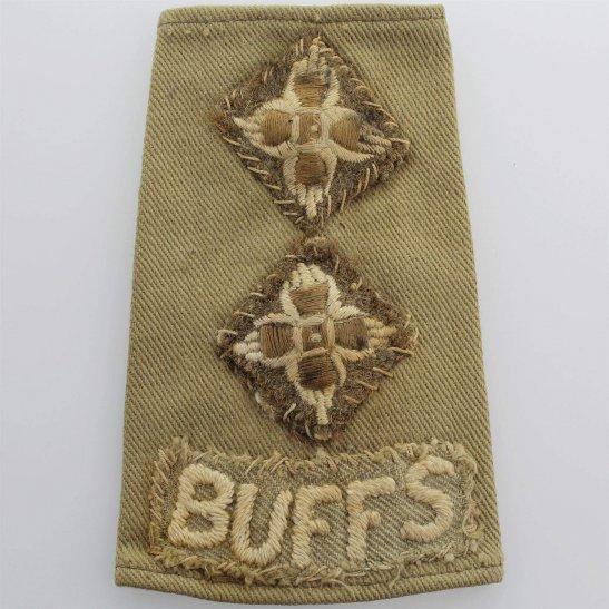 Buffs (Royal East Kent) WW2 Royal East Kent (The Buffs) Regiment Officers Slip-On Epaulette Insignia Shoulder Title Rank Pip