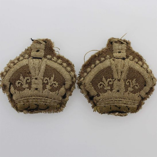WW1 British Army Officers CLOTH Insignia Crown Pips - Rank of Major Cuff PAIR