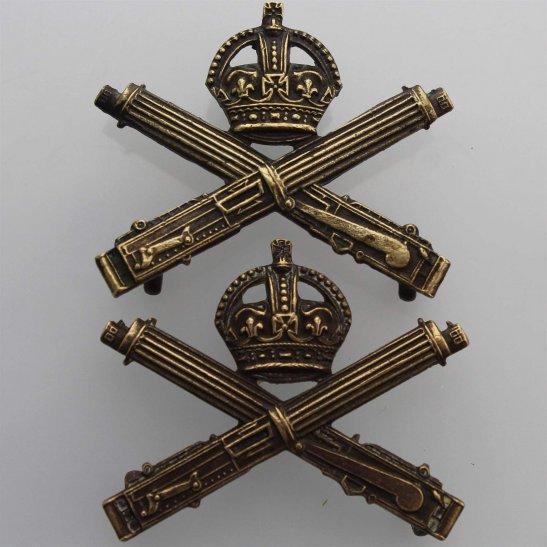 Machine Gun Corps MGC WW1 Machine Gun Corps OFFICERS Bronze MGC Collar Badge PAIR
