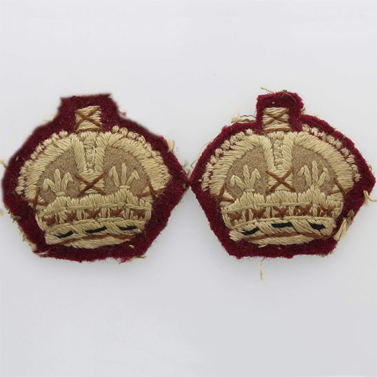 WW2 British Army Officers CLOTH Insignia Crown Pips - Rank of Major Set PAIR