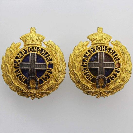 Northamptonshire Regiment VICTORIAN Northamptonshire Regiment OFFICERS Gilt and Enamel Collar Badge PAIR