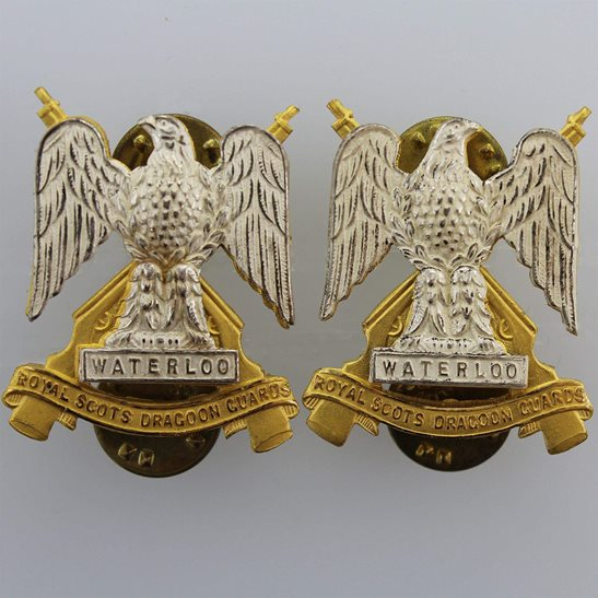 Royal Scots Dragoon Guards Royal Scots Dragoon Guards Regiment Collar Badge PAIR - Stud Fixings