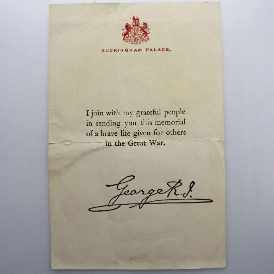 WW1 Death Penny / Memorial Plaque Buckingham Palace Letter Insert Slip