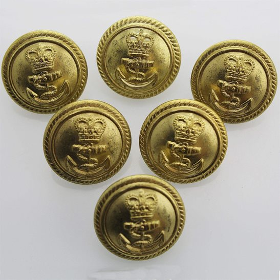 Royal Navy Royal Navy British Anchor Naval Tunic Buttons 25mm - Queens Crown