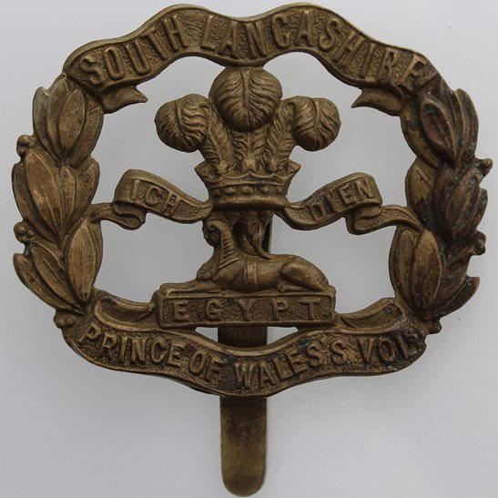 South Lancashire WW1 South Lancashire Regiment ALL BRASS Economy Issue Cap Badge