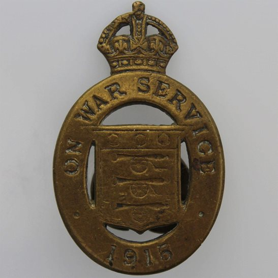 WW1 On War Service 1915 Lapel Badge - J.A. WYLIE & Co LONDON