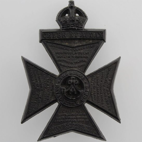 Kings Royal Rifle Corps KRRC WW2 Kings Royal Rifle Corps KRRC (King's) Regiment PLASTIC Economy Issue Cap Badge