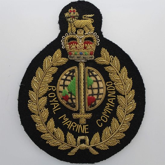 Royal Marines Royal Marines Corps Commandos Cloth Wire BULLION Veterans Blazer Badge Patch