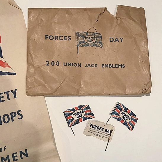 additional image for Forces Flag Day Disabled WW2 Veterans Fundraising Charity Pin Collection Box & Badges