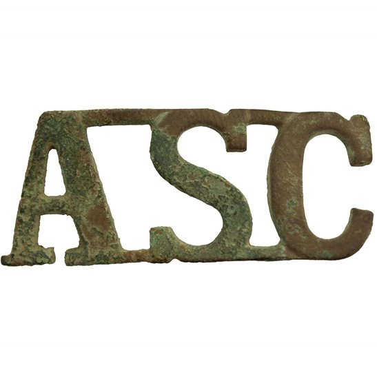 Army Service Corps ASC UK Dug Detecting Find - WW1 Army Service Corps ASC Relic Shoulder Title