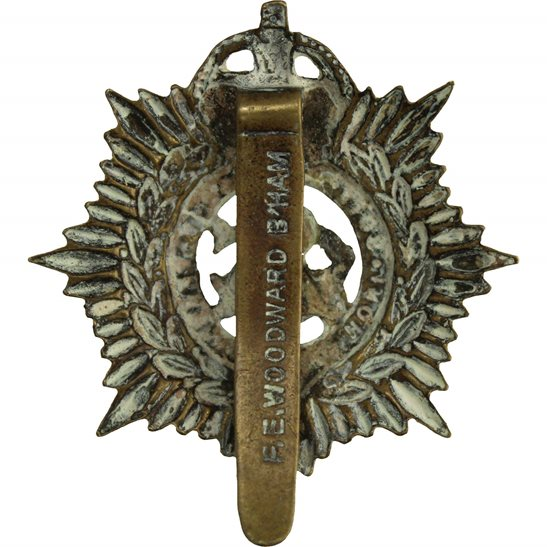 additional image for WW1 Army Service Corps ASC Cap Badge - F.E. WOODWARD B'HAM Makers Mark