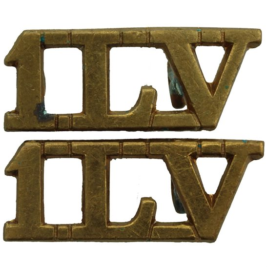 1st Lancastrian Volunteers Regiment Infantry Brigade 1LV Shoulder Title PAIR