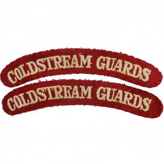 Coldstream Guards WW2 Coldstream Guards Regiments Cloth Shoulder Title Badge Flash PAIR