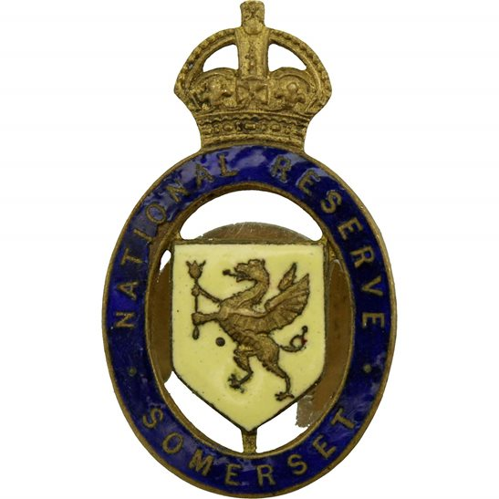 WW1 National Reserve County of Somerset Enamel Lapel Badge