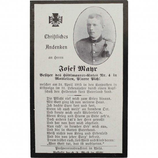 WW1 German Army WW1 Austrian Army Soldiers Mourning Death Card