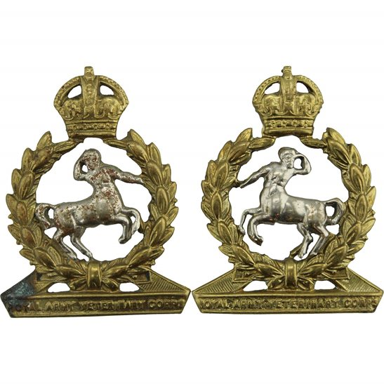 Army Veterinary Corps AVC WW2 Royal Army Veterinary Corps RAVC Collar Badge PAIR