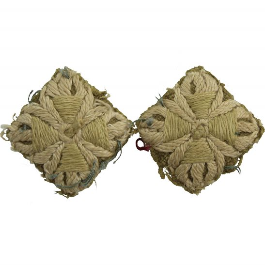 WW1 British Army Officers CLOTH Insignia Pips - Rank of 2nd Lieutenant Cuff PAIR