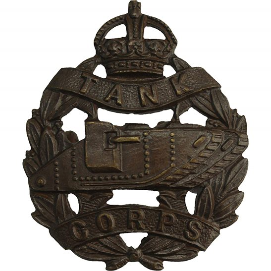 Royal Tank Corps WW1 Royal Tank Corps OFFICERS Bronze Collar Badge - J.R.GAUNT Makers Mark