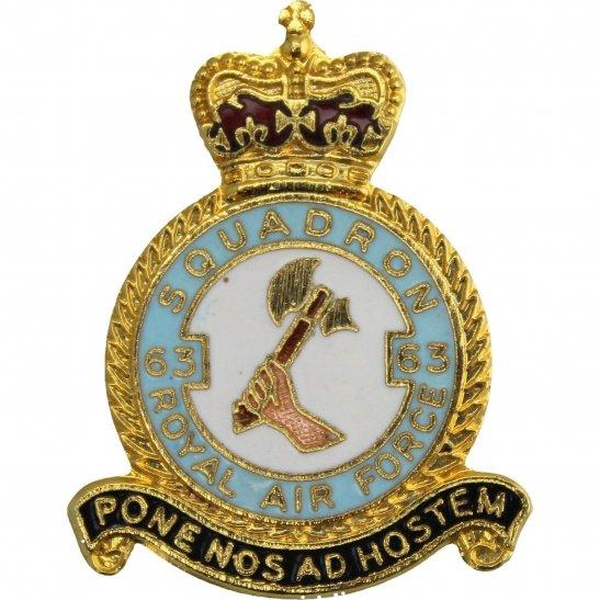 RAF Squadrons 63 Squadron Royal Air Force RAF Lapel Badge