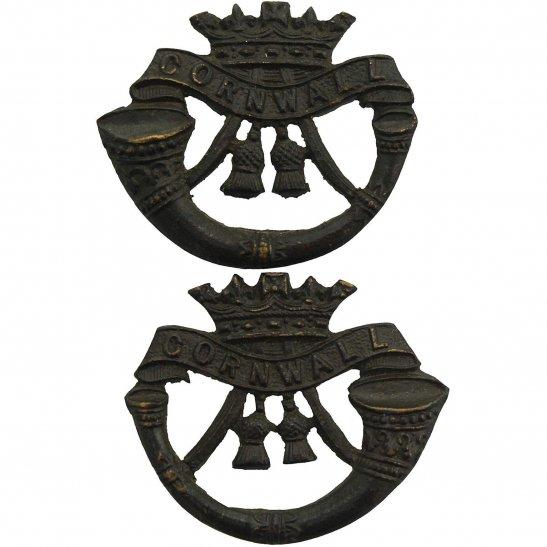 Duke of Cornwalls Light Infantry DCLI Duke of Cornwalls Light Infantry Regiment OFFICERS Bronze Collar Badge PAIR