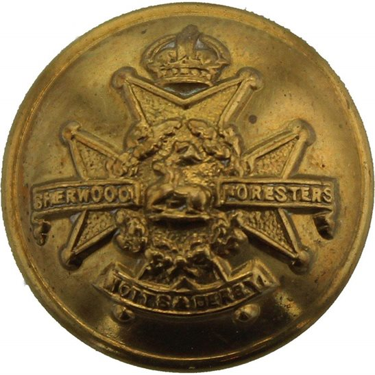 Notts and Derby Notts and Derby (Sherwood Foresters) Regiment SMALL Tunic Button - 19mm