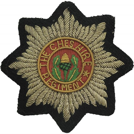 Cheshire Regiment The Cheshire Regiment Cloth Wire BULLION Veterans Blazer Badge