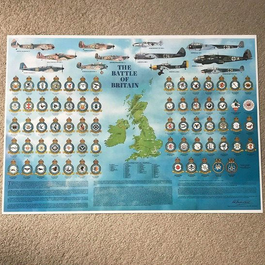 additional image for ROLLED WW2 Battle of Britain Royal Air Force RAF Squadron Badges, Planes & Airfields Guide Poster A1