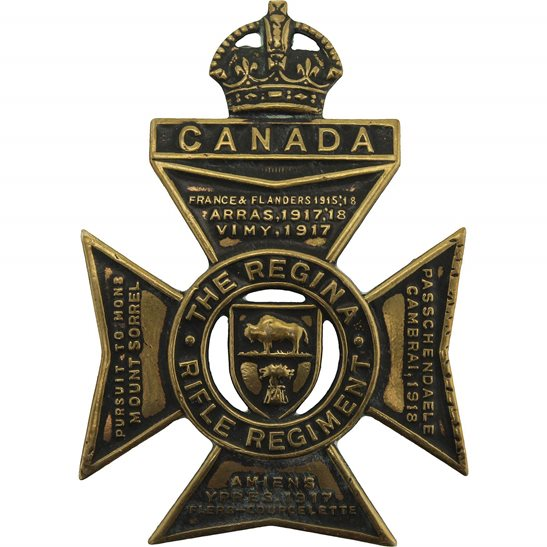 WW2 Canadian Army WW2 Canadian The Regina Rifle Regiment of Canada CEF Cap Badge