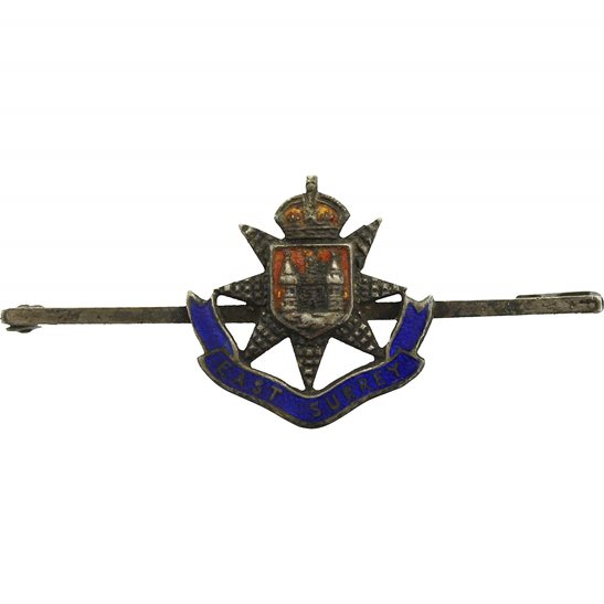 East Surrey East Surrey Regiment STERLING Silver Sweetheart Brooch