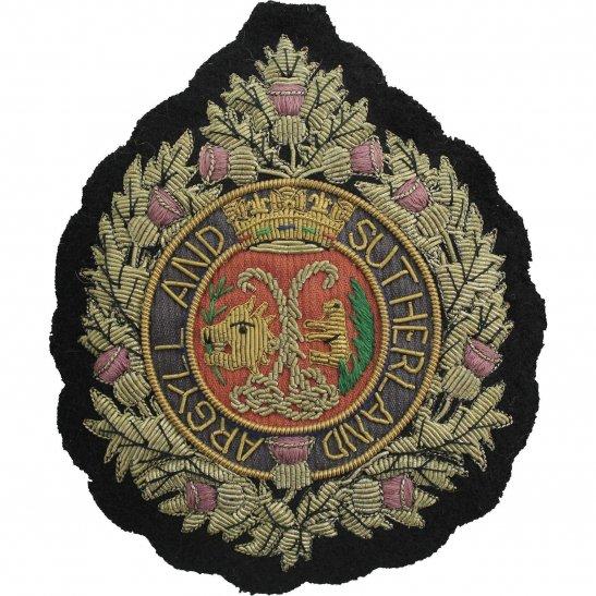 Argyll and Sutherland Highlanders Argyll and Sutherland HighlandersRegiment Scottish Cloth Wire BULLION Veterans Blazer Badge