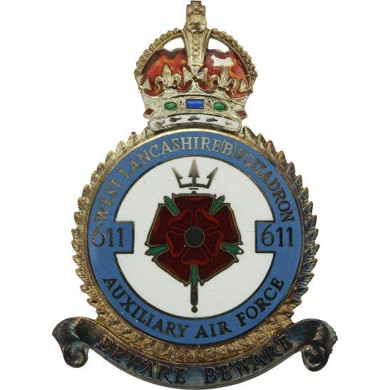 RAF Squadrons 611 Squadron SILVER Royal Air Force PLAQUE Badge RAF
