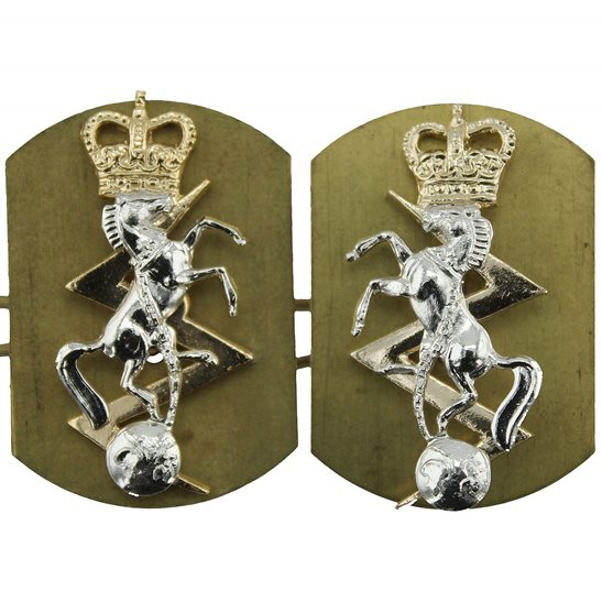 Royal Electrical & Mechanical Engineers REME Royal Electrical & Mechanical Engineers REME Staybrite Anodised Collar Badge PAIR - Staybright