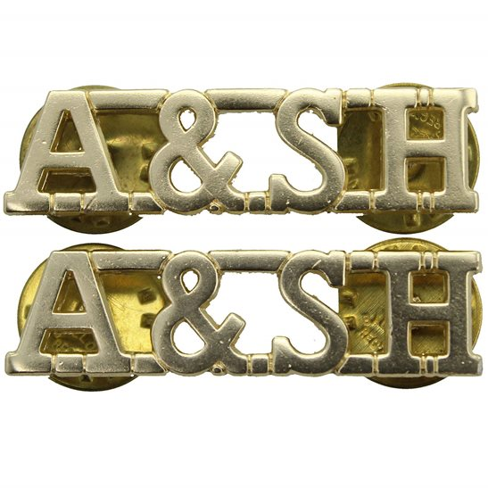 Argyll and Sutherland Highlanders Argyll and Sutherland Highlanders Staybrite Anodised Shoulder Title PAIR - Staybright