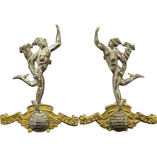 Royal Corps of Signals RCOS WW2 Royal Corps of Signals RCOS Collar Badge PAIR