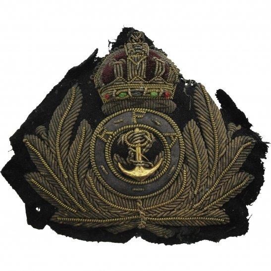 Royal Navy WW2 British Royal Fleet Auxiliary Navy Officers Cloth Bullion Cap Badge