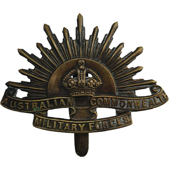 WW1 Australian Army WW1 Australian Army Division Commonwealth Military Forces Cap Badge - SLIDER VERSION