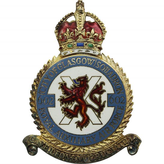 RAF Squadrons 602 Glasgow Squadron SILVER Royal Air Force PLAQUE Badge RAF